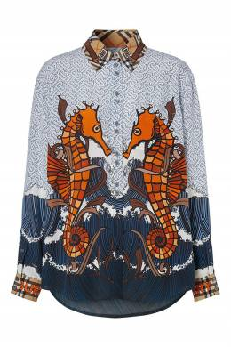 Блуза из шелка с комбинированным принтом Burberry 10188654