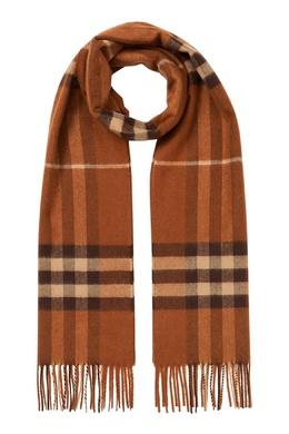 Кашемировый шарф кирпично-оранжевого оттенка Burberry 10188712