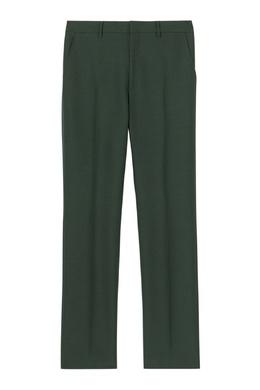 Темно-зеленые брюки из шерсти и мохера Burberry 10188595