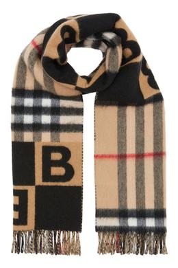 Бежевый шарф с комбинированным принтом Burberry 10189145