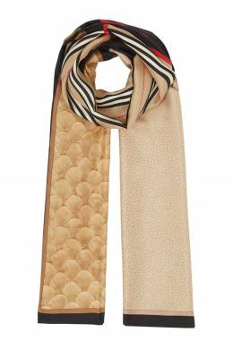 Шелковый шарф с комбинированным принтом Burberry 10188641