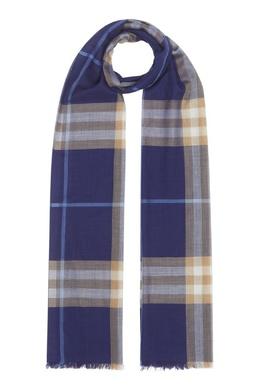Синий шарф из смесовой ткани Burberry 10189123