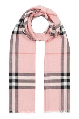 Розовый шарф с бахромой Burberry 10189122