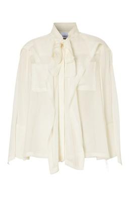 Шелковая блуза с бантом и оборками Burberry 10188632