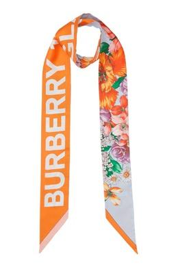 Узкий шелковый шарф с цветочным принтом Burberry 10188634