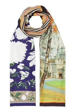 Шелковый шарф с комбинированным принтом Burberry 10188572