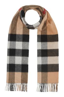 Бежевый шарф в клетку Burberry 10189124