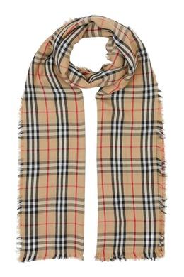 Легкий шарф в клетку Burberry 10188684