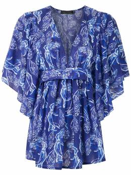 Andrea Marques блузка с принтом и завязками на талии TOPDECOTEVFAIXA