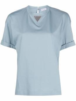 Brunello Cucinelli футболка с вышивкой бисером M0045BX100C9403