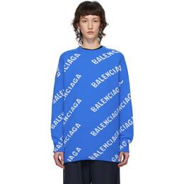 Balenciaga Blue and White All Over Logo Sweater 620983-T1567