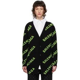 Balenciaga Black and Green All Over Logo Cardigan 620984-T1567