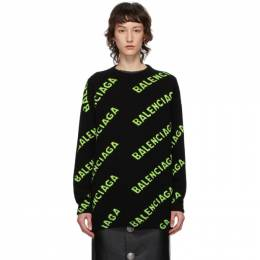 Balenciaga Black and Green All Over Logo Sweater 620983-T1567