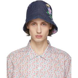 Engineered Garments Indigo Denim Floral Bucket Hat 20S1H003