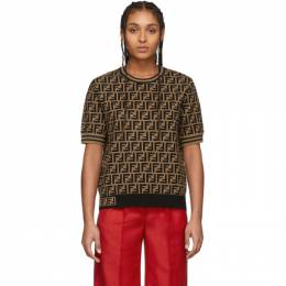 Fendi Brown and Black Forever Fendi Short Sleeve Sweater FZY702 A5QG