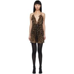 Saint Laurent Beige Leopard Babydoll Slip Dress 601265 Y821S