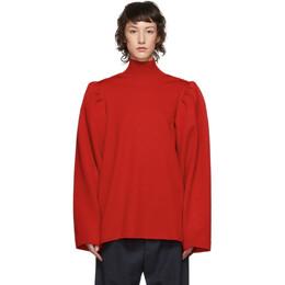 Balenciaga Red Wool Puffed Sleeves Turtleneck 599817-T1559