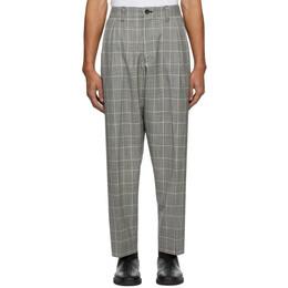 Blue Blue Japan Black and White Kasuri Wool Glen Check Trousers 700079973