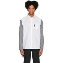Neil Barrett Grey and White Bicolor Thunderbolt Shirt PBCM 1291C N062C