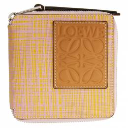Loewe Pink and Yellow Square Zip Wallet 134.88.M88