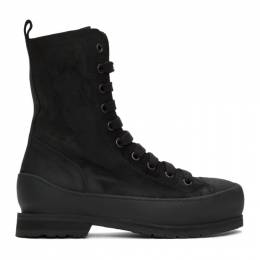 Ann Demeulemeester Black Greased Suede Boots 2001-4240-354-099