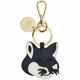Maison Kitsune Navy Leather Fox Head Keyring DU05301LC0001