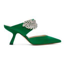 Nicholas Kirkwood Green Satin Monstera Mules 907A42SATN
