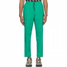 Kenzo Green Poplin Tapered Lounge Pants FA55PA2151NC