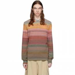 Missoni Orange and Multicolor Striped Long Sleeve Polo MUL00005-BJ0014