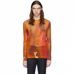 Dries Van Noten Orange and Red Mesh T-Shirt 21108-9090-975