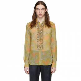Dries Van Noten Yellow and Green Floral Ruffle Shirt 20752-9082-202