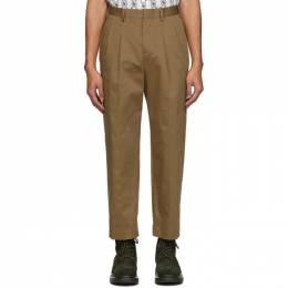 Neil Barrett Beige Gabardine Pleated Trousers PBPA 766 N014