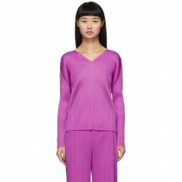 Pleats Please Issey Miyake Purple Pleats V-Neck Pullover PP06JK161