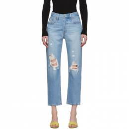 Levi's Blue 501 Original Cropped Ripped Jeans 36200-0072