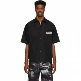 Moschino Black Half-Sleeve Logo Shirt 0216 0235