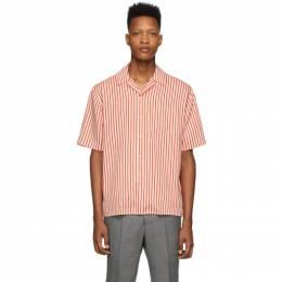 Ami Alexandre Mattiussi Red and Off-White Striped Shirt E20HC201.421