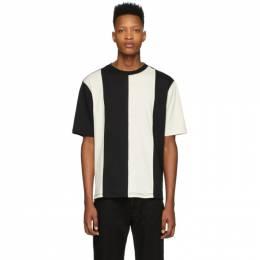 Ami Alexandre Mattiussi Black and Off-White Bi-Colour T-Shirt E20HJ150.702