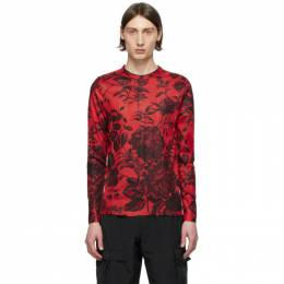 Givenchy Red Floral Ribbed Long Sleeve T-Shirt BM90CD40AD