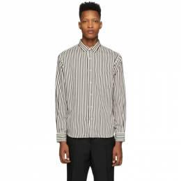 Ami Alexandre Mattiussi White and Black Striped Summer Fit Shirt E20HC139.421