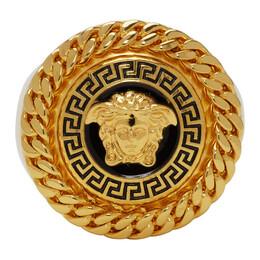 Versace Gold and Black Enamel Medusa Ring DG58032 DJMS