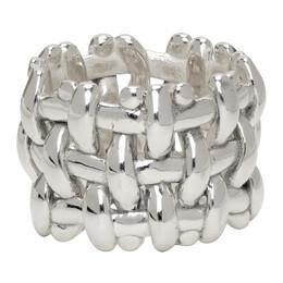 Bottega Veneta Silver Intrecciato Ring 617413 V5070