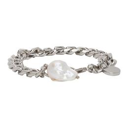 Givenchy Silver Long Pearl Chain Bracelet BN2021N049