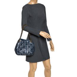 Carolina Herrera Blue Monogram Leather Chain Shoulder Bag 273190