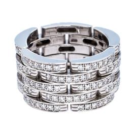 Cartier Maillon Panthère Diamond 18K White Gold 5 Row Ring Size 50 273385