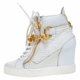 Giuseppe Zanotti Design White Snake Embossed Leather High Top Wedge Sneakers Size 36.5 273156