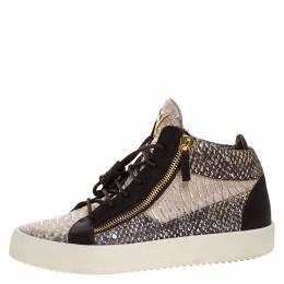 Giuseppe Zanotti Design Multicolor Python Embossed Leather May London High Top Sneakers Size 43