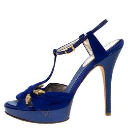 Roberto Cavalli Blue Suede Leather Platform Ankle Strap Sandals Size 39.5 272897