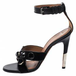 Givenchy Black Velvet And Leather Studded Criss Cross Ankle Strap Sandals Size 37 273307