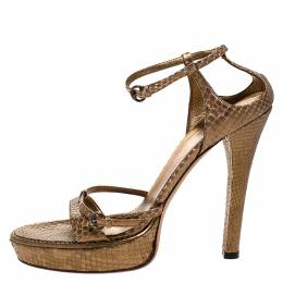 Gucci Gold Python Leather Strappy Platform Sandals Size 39 272887