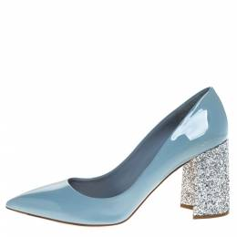 Miu Miu Grey Patent Leather Glitter Heel Pointed Toe Pumps Size 40.5 273756